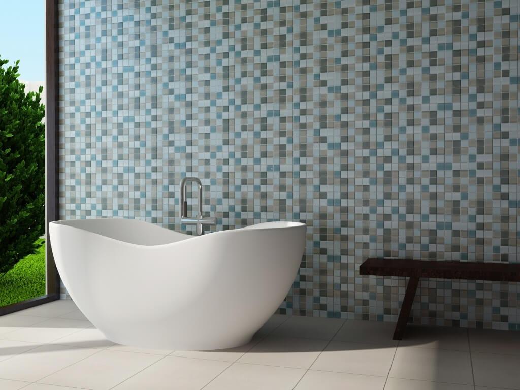 Bathroom wall with a multicolor mosaic tile grid