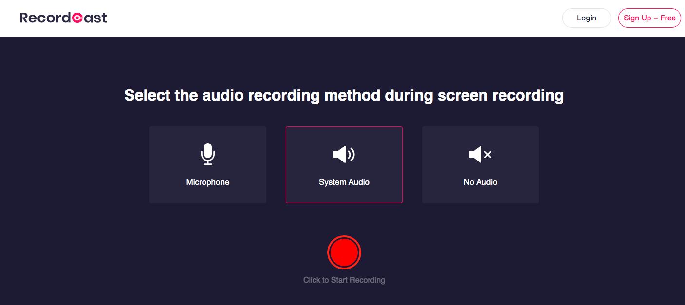 Iniciar gravação RecordCast
