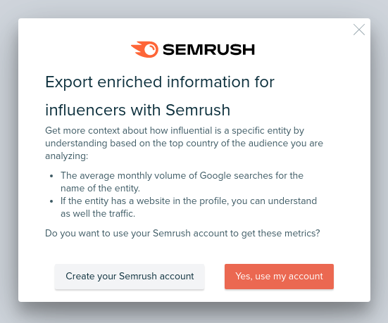 Audiense blog - Audiense and Semrush integration