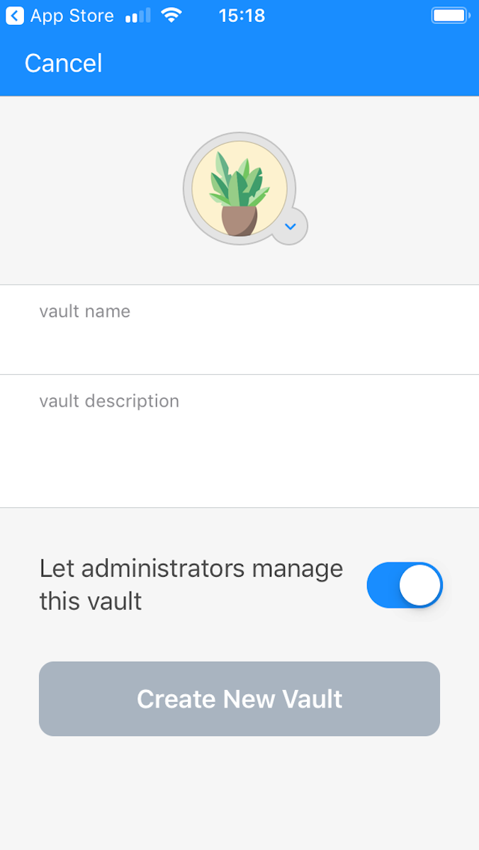 1Password mobile—create new vault.
