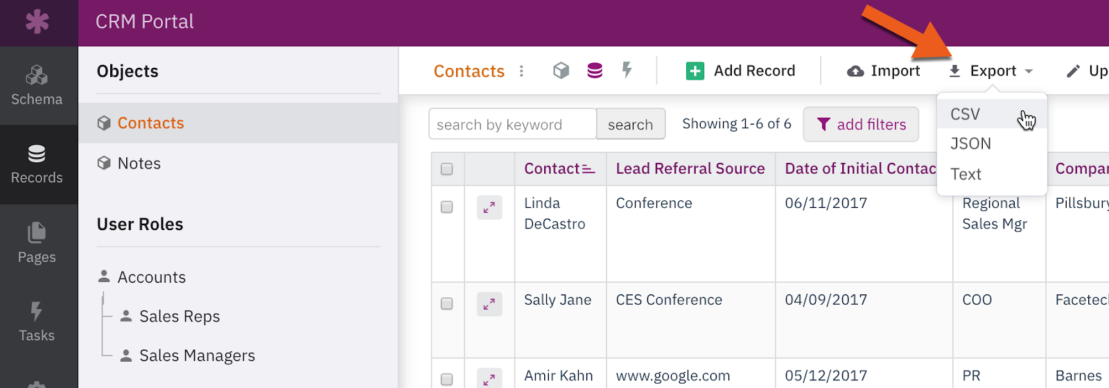 Arrow pointing to the Export button for objects in the Records section of the Builder