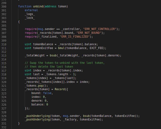 Balancer Codeblock: unbind function