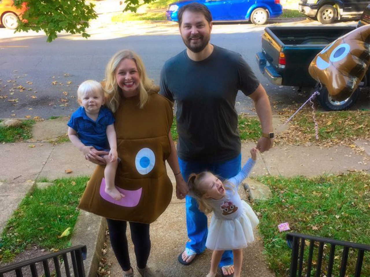 Family throwing a poop emoji party
