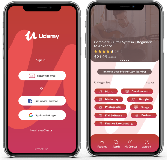 Udemy mobile courses app.