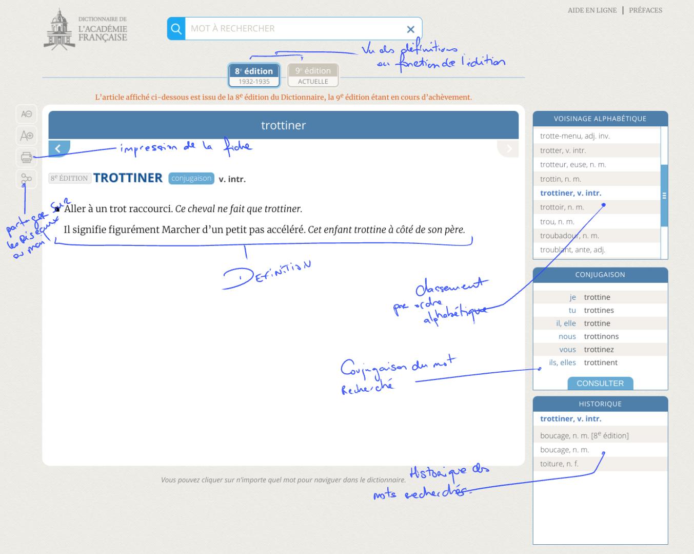 Application Dictionnaire de l'académie Française
