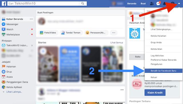 Beralih ke desain facebook baru