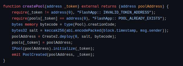 Code block for creating pool