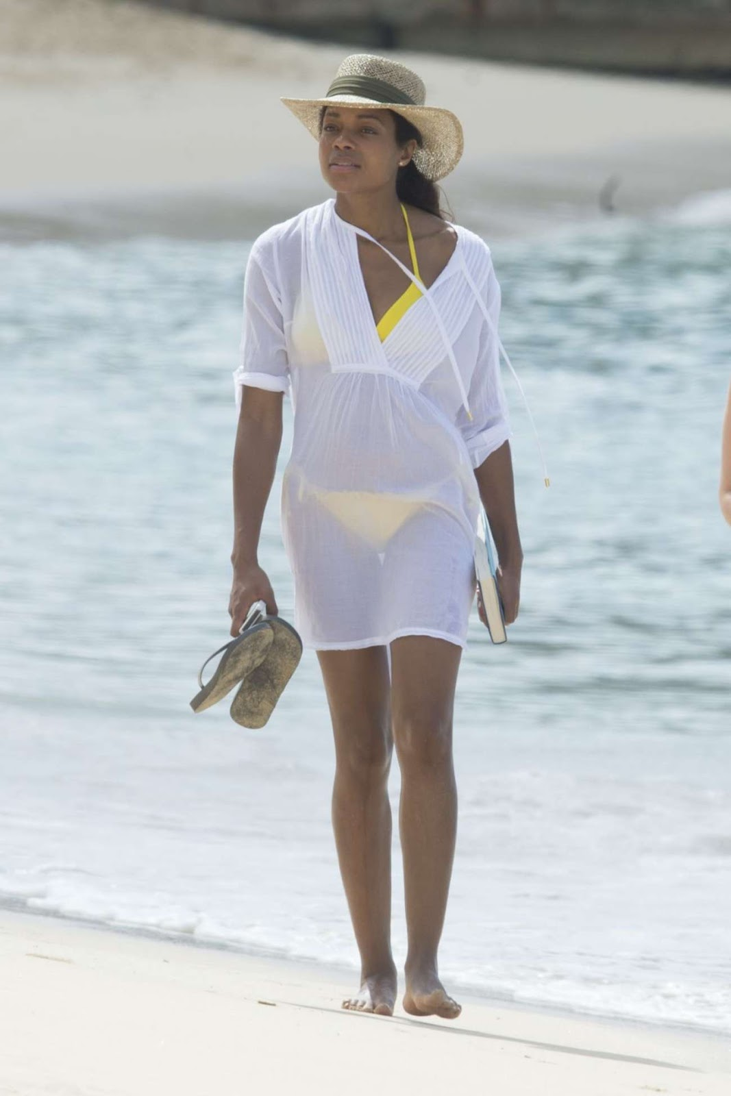 Naomie Harris at a Beach in Barbados