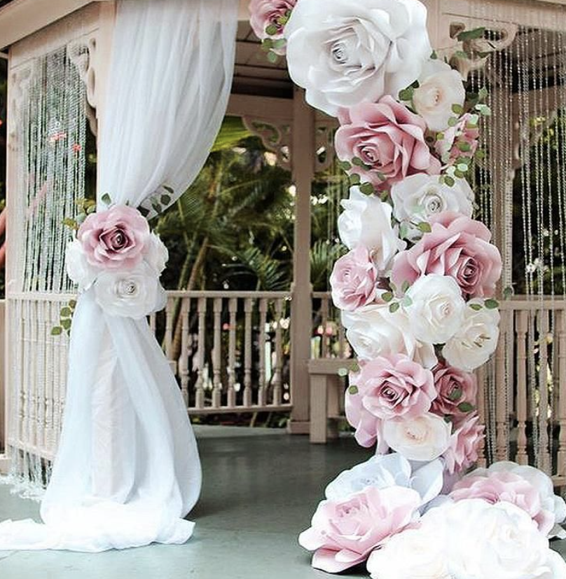 roses decorating a gazebo