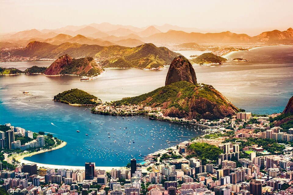 Aerial view of Rio de Janeiro. Bucks party