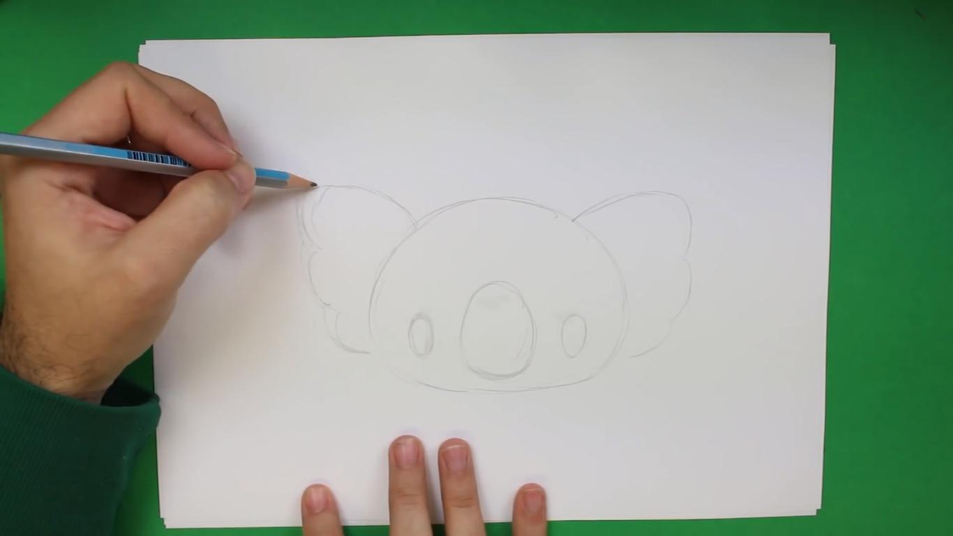 como dibujar un koala kawaii paso a paso