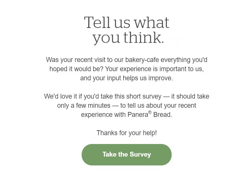 """""""tell us what you think"""" survey"""