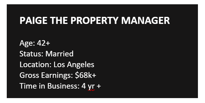 Paige the property manager b2c buyer persona example with age, marriage status, location, earnings and business experience