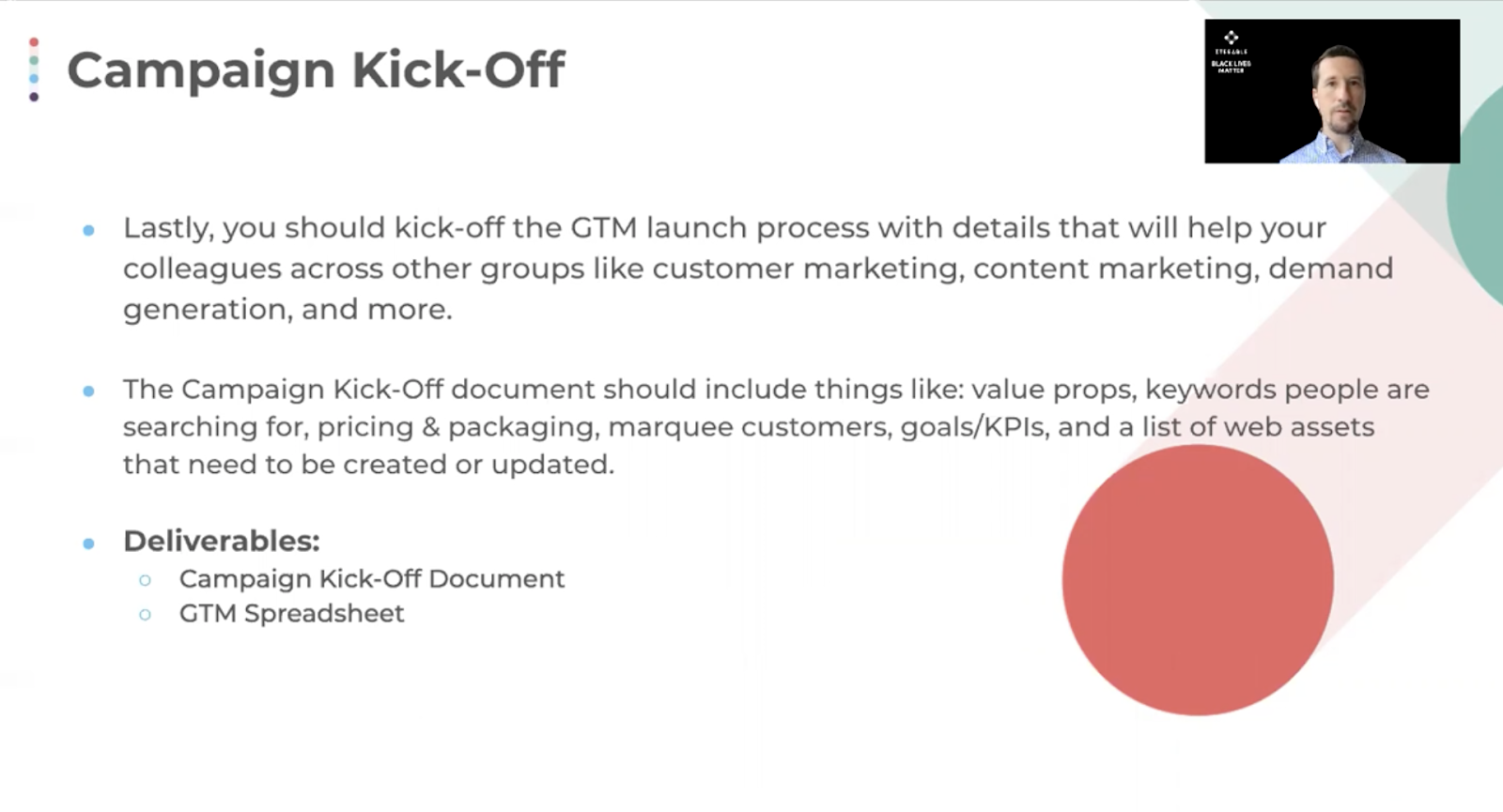 A campaign kick-off document outlines the essentials of your launch.