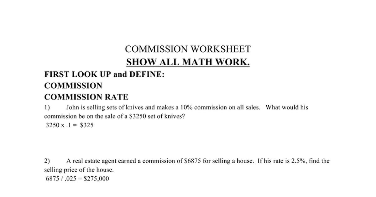 Commission Worksheet - Google Docs