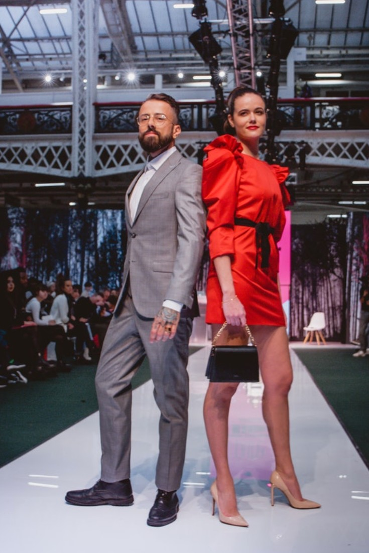 SEO Alt Text: Model Dan Pontarlier Styled By Roberta Lee, Pure London Runway Feb 2020 | Conscious Fashion Brands | Smart Menswear | Men's grey 3 Piece Suit