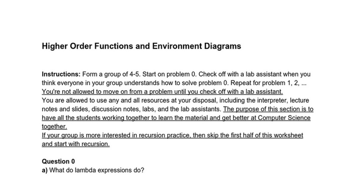 Higher Order Functions And Environment Diagrams Google Docs