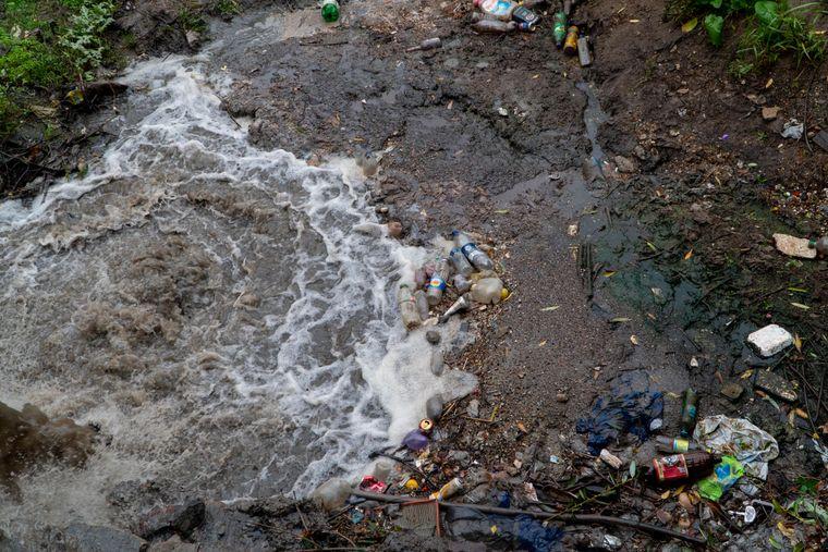 Мусор и бытовые отходы на берегу Днестра, Сороки, Молдова