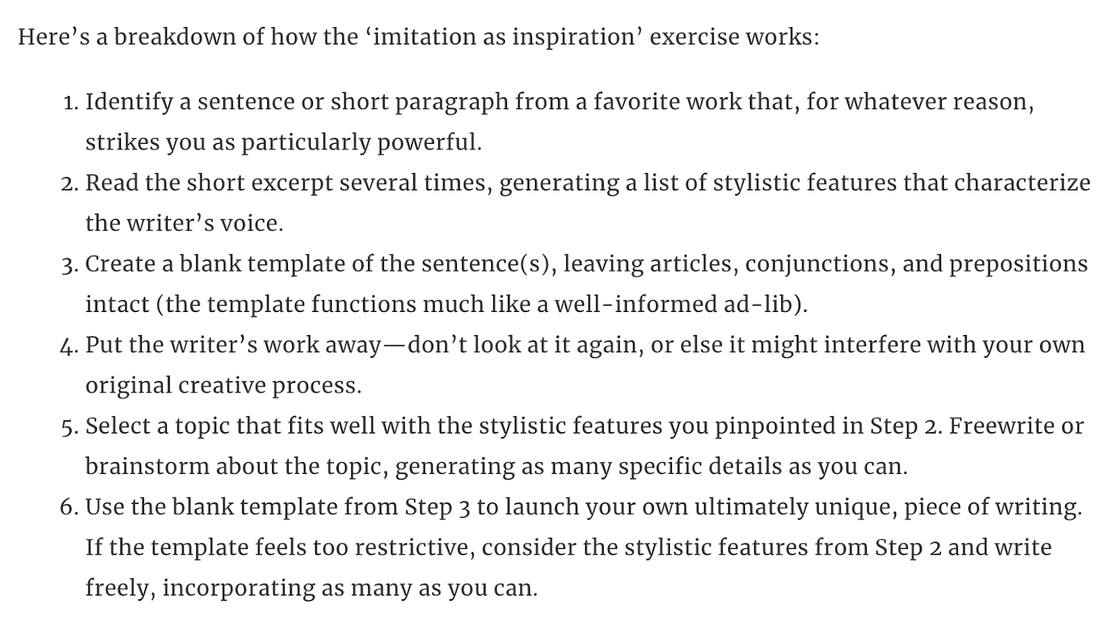 Breakdown of the 'imitation as inspiration' exercise