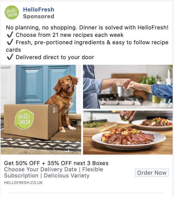 hello fresh facebook ad