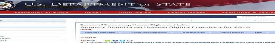 Image result for U.S. human rights report flags curbs on Indian media