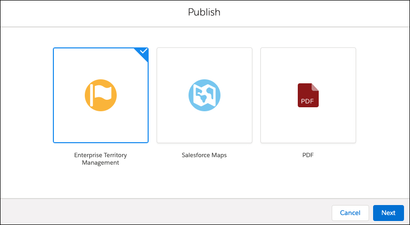 In the Publish dialog box, Enterprise Territory Management is selected.