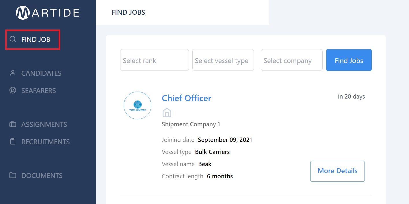 screenshot of the Find Job page