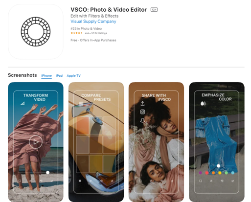 Mobile app type - Photo and Video - VSCO