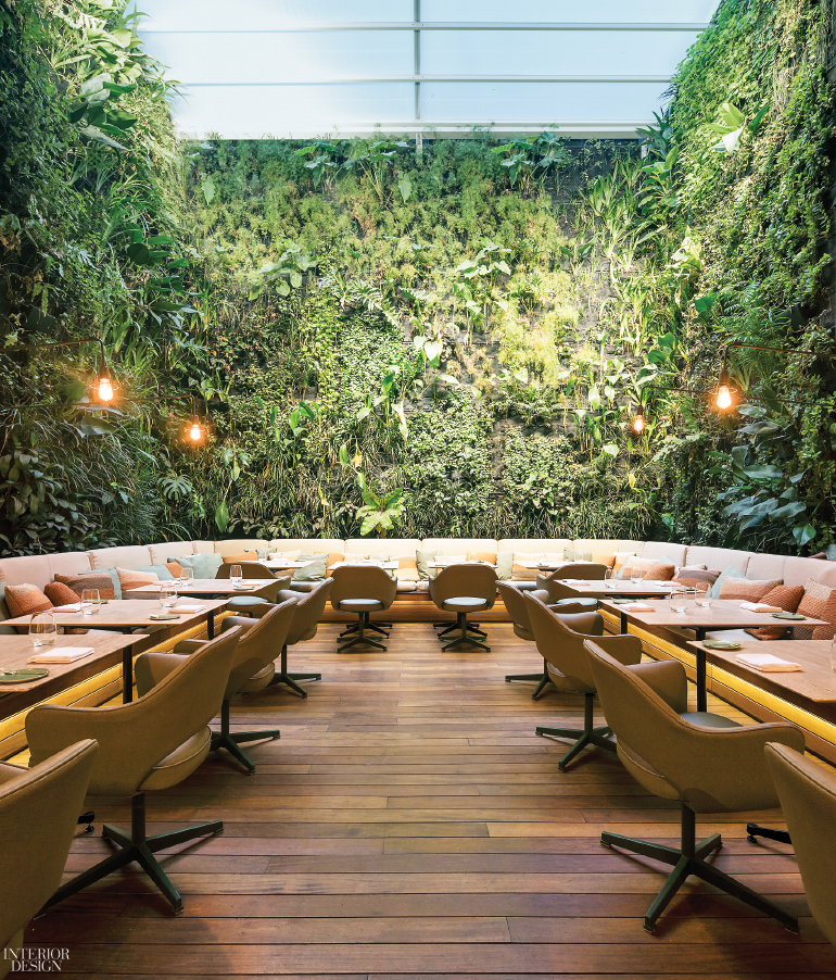 Greenery Walls, Restaurant, Chic modern interior