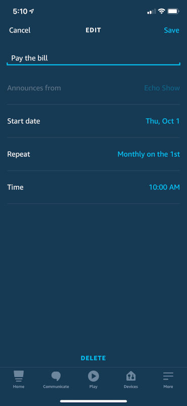 Alexa Monthly Reminder Screenshot