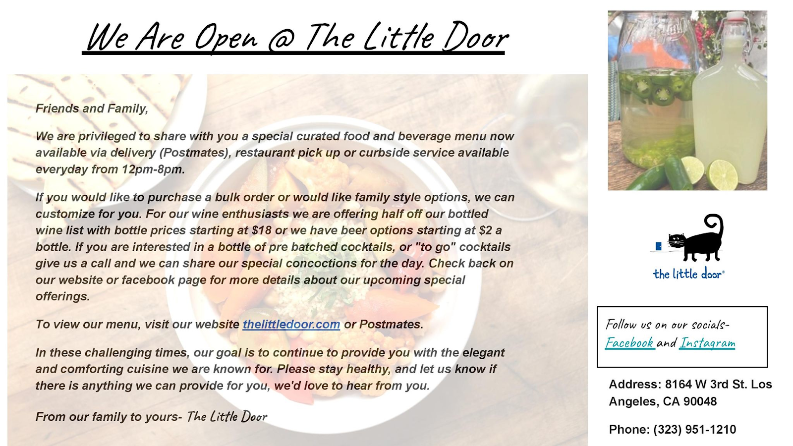Flyer for Little Door Restaurant