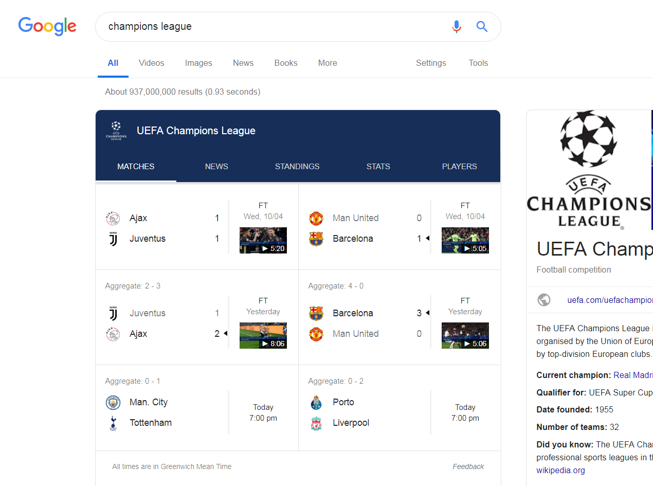 variable SERP for champions league