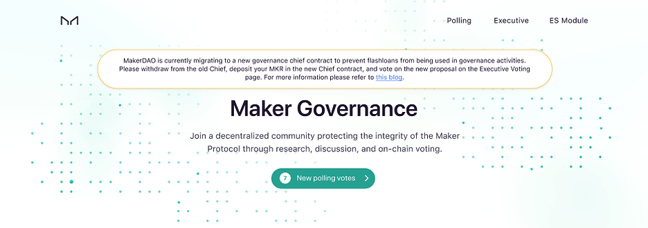 MKR holders vote for the DsChief 1.2 Governance Security Update via  the Maker Governance Portal.