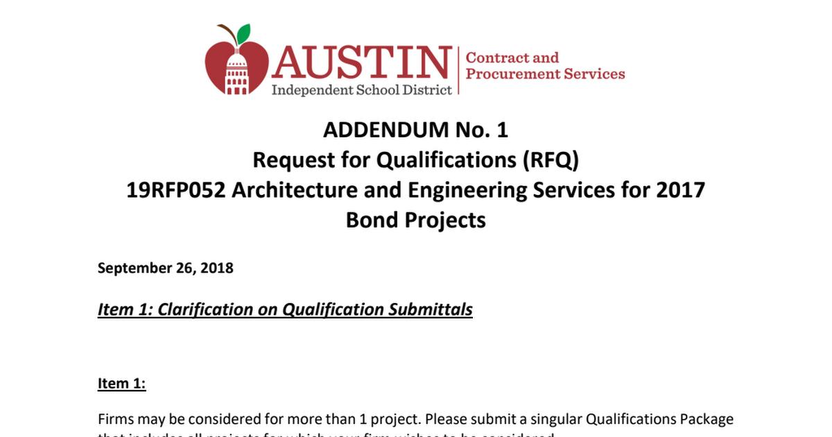 Addendum 1- 19RFQ052 -- to post pdf - Google Drive