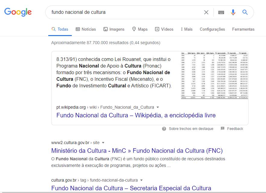 Google Search - Exemplo de busca e SEO