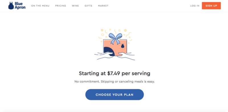 A screenshot of Blue Apron's landing page with only one simple CTA.