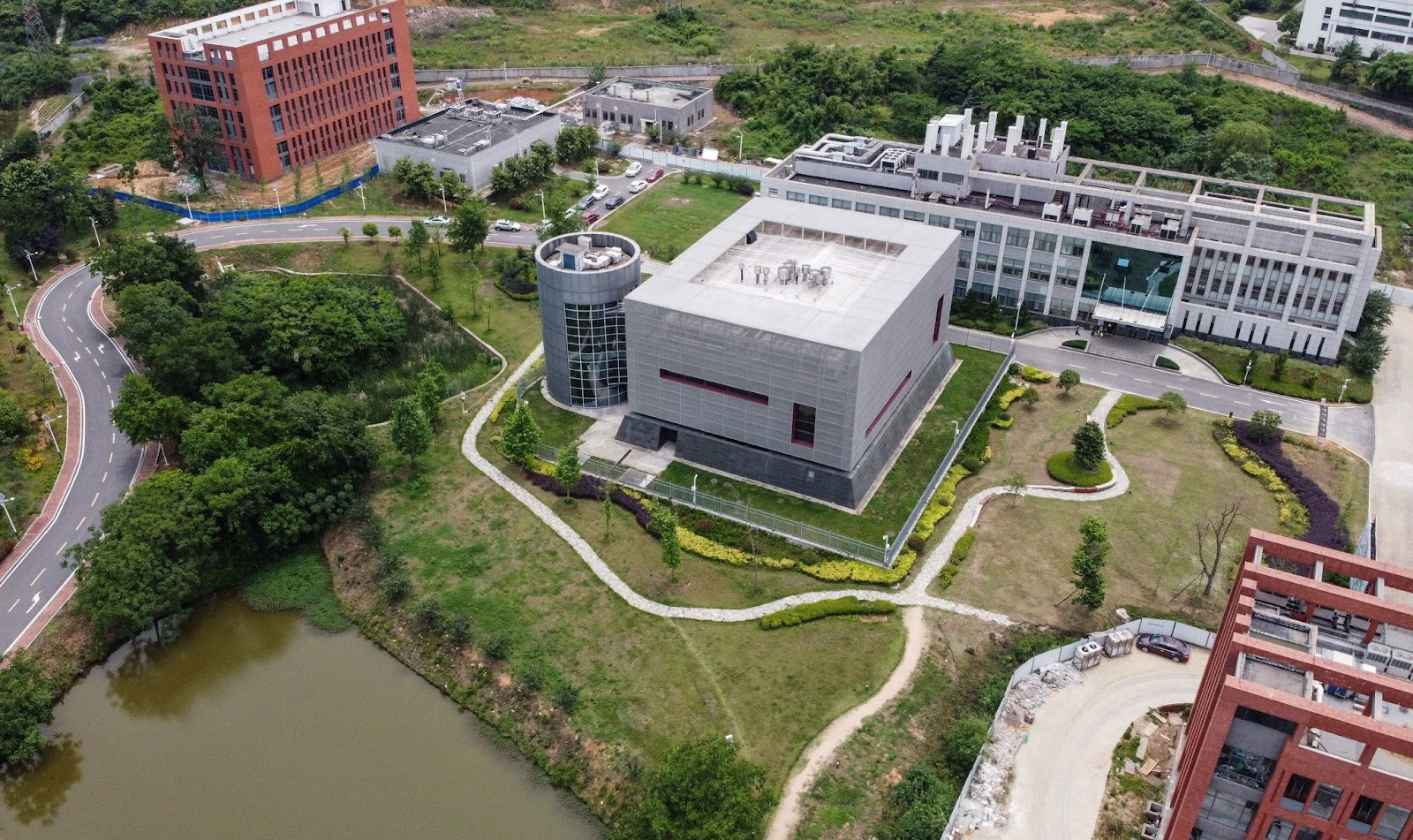 This aerial view shows the P4 laboratory (C) on the campus of the Wuhan Institute of Virology in Wuhan May 13, 2020. The world is becoming more clear about the origin of SARS-CoV-2 being none other than the Chinese Communist Party's only Biosecurity Level IV laboratory.