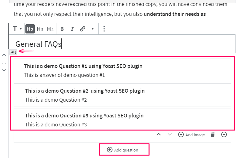 Add Frequently Asked Questions in WordPress using the Yoast FAQ
