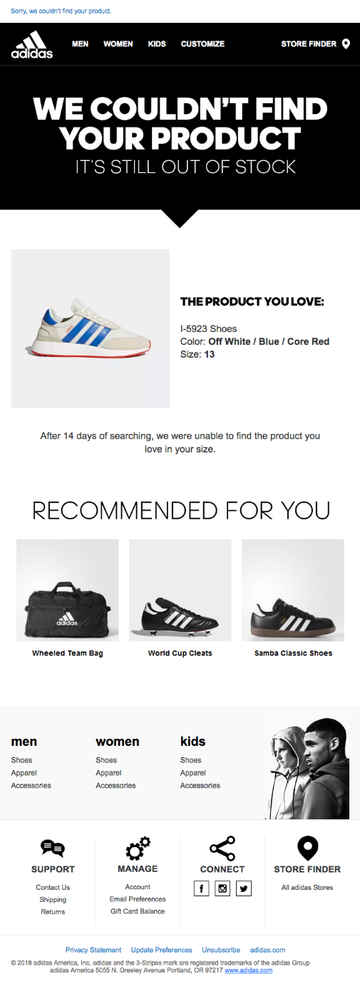 Adidas out of stock email notice