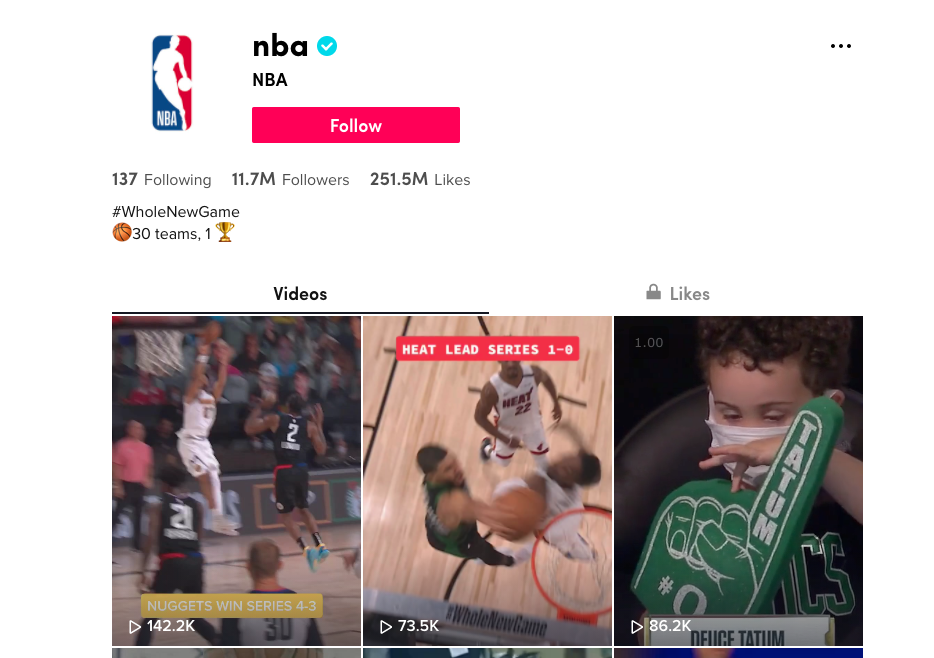 screenshot of NBA TikTok account