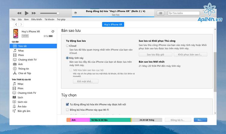 Sao lưu dữ liệu iPhone trên MacBook