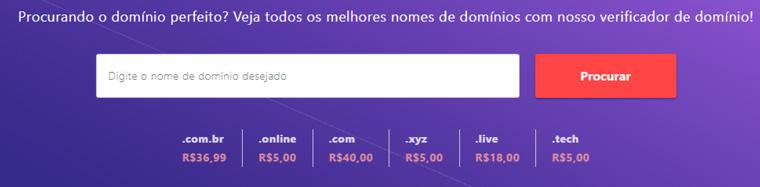 buscador de domínio da hostinger