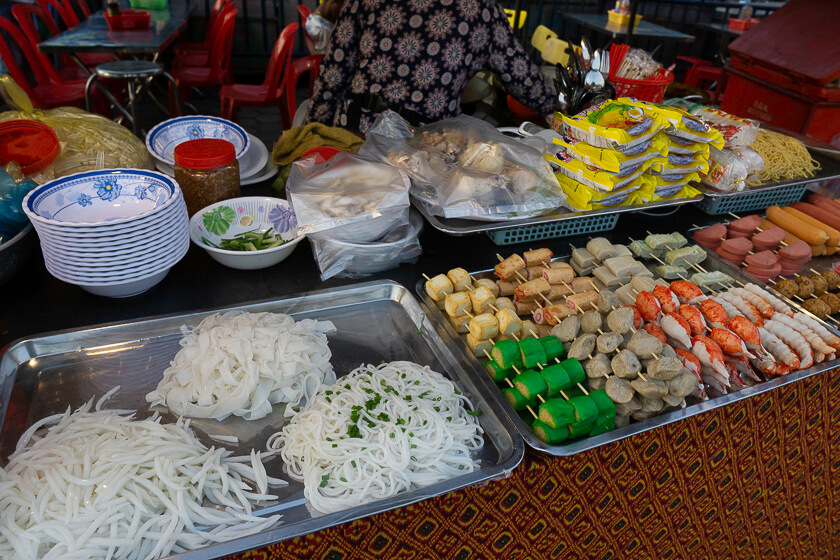 Street Food laid out on trays.