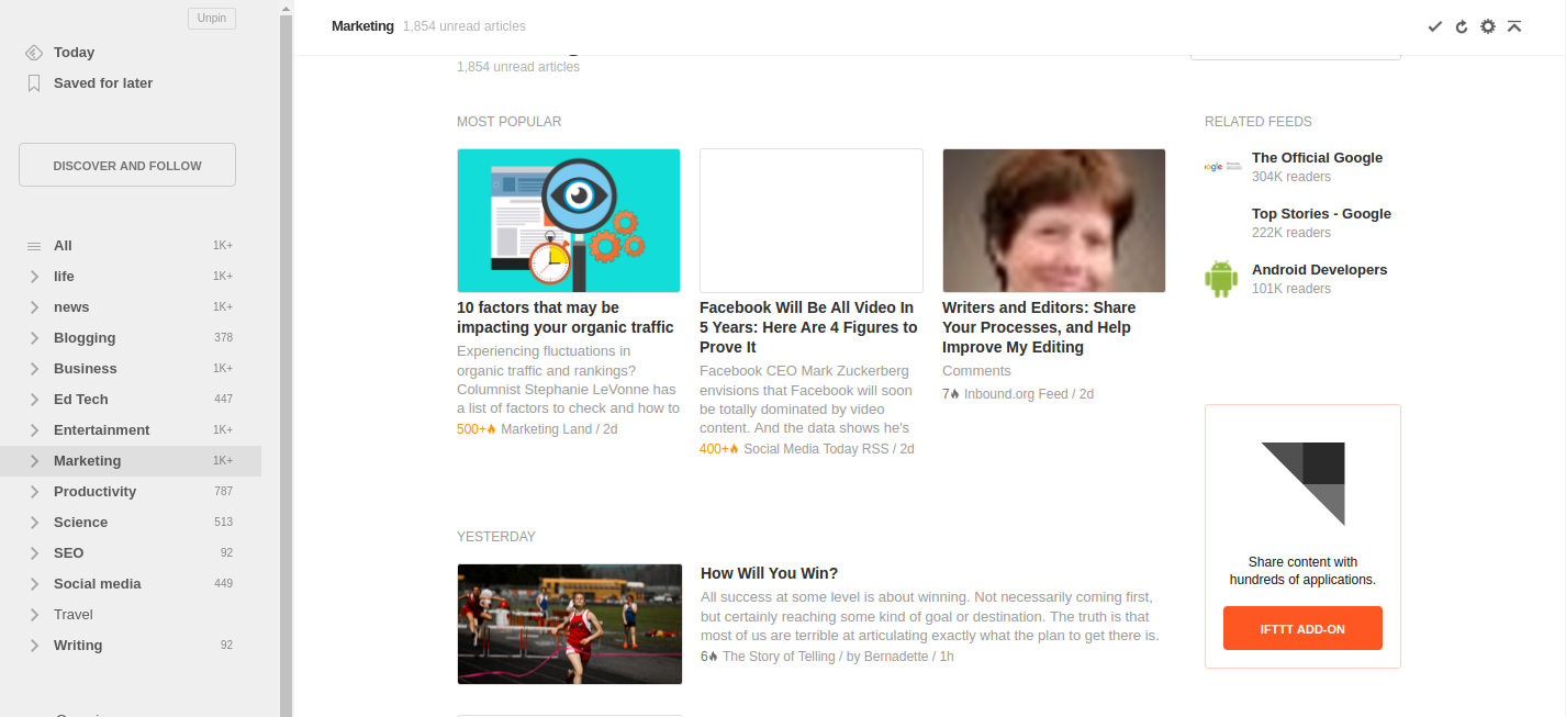 Identify Hot Topics using feedly