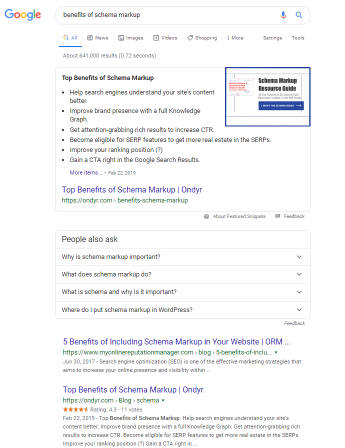 on-SERP SEO Example for benefits of schema markup