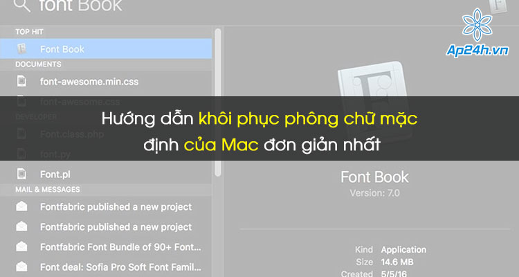 khôi phục phông chữ mặc định của Mac
