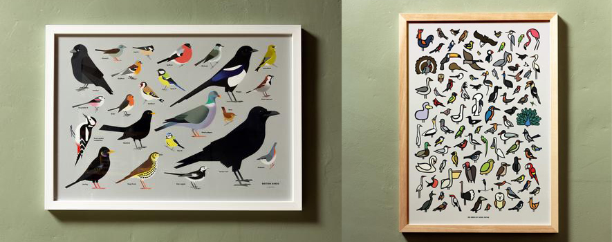Beautiful bird prints that would look great in a variety of homes would make for a wonderful Christmas Gift.