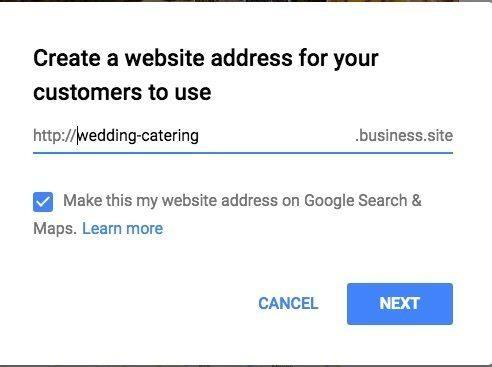 create a website address for your customers to use google provided website