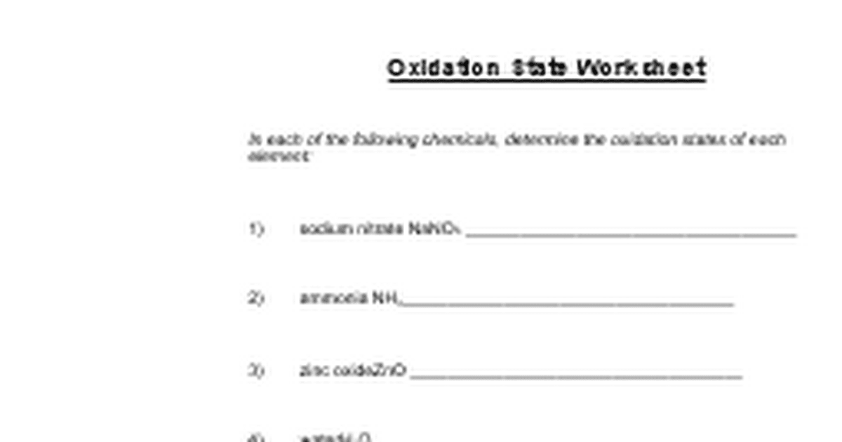 ox numberdoc Google Docs – Oxidation Numbers Worksheet