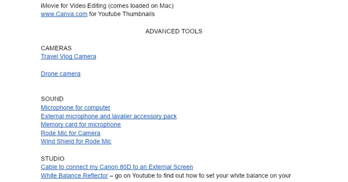 Equipment & Tools to Make Videos